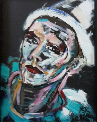 pierrot, acrylic on paper, 40X30cm- SOLD!