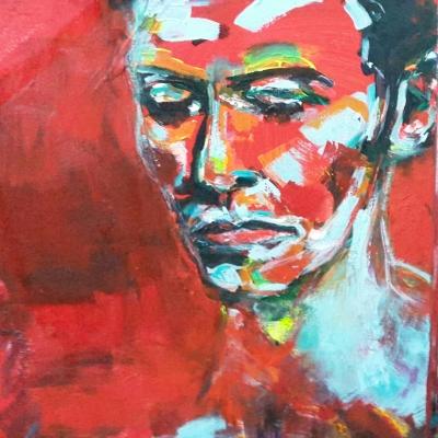 Sorrow, acrylic on canvas, 50X50cm- SOLD!