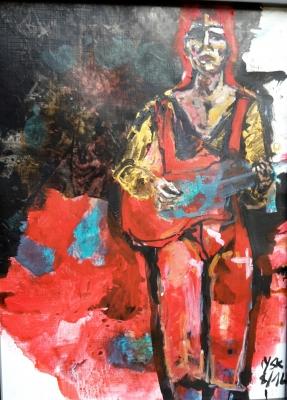 Ziggy plays guitar, acrylic, 39X28.5cm