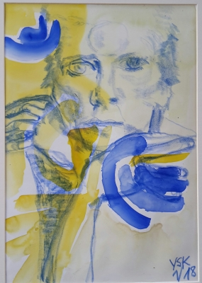 Bowie in yellow and blue, mixed media, 30X25cm