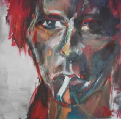 smoking Bowie, acrylic on canvas, 30X30cm- SOLD!
