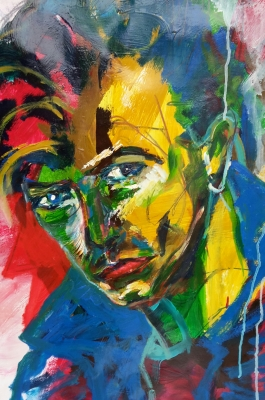 David in Blue, Acrylic on paper- SOLD!