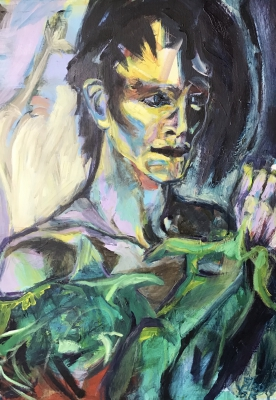 Sold! Bowie in Drag, 70x50cm, acrylic on canvas