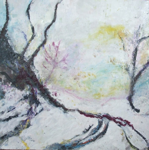 Snowy Bend , encaustic on birch panel, 80 x 80 cm
