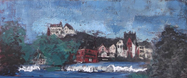 Marburg, encaustic on birch panel, 120X50cm