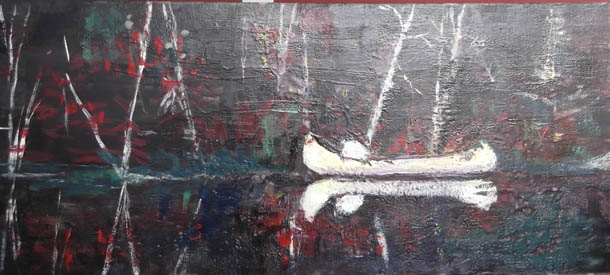 Tom Thomsons Canoe, encaustic on birch panel, 120X50cm