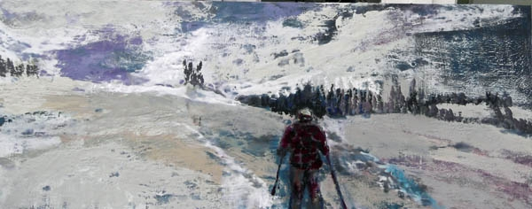 the skier, encaustic on birch panel, 40X100cm