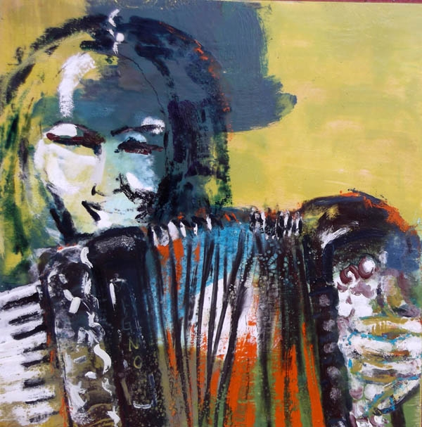 Veronika, encaustic on birch panel, 50X50cm- SOLD!