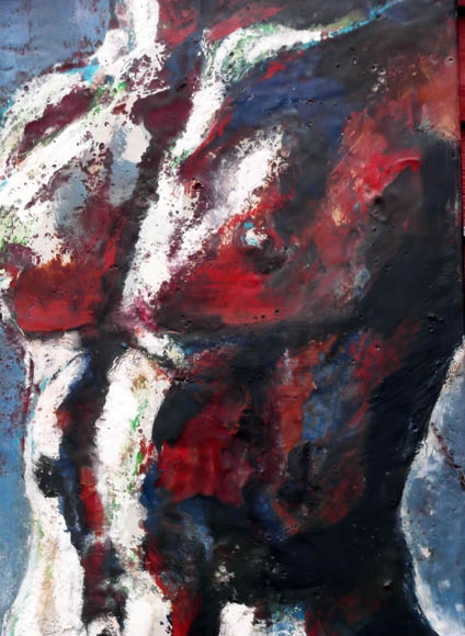 Torso, encaustic on birch panel, 70X50cmcm