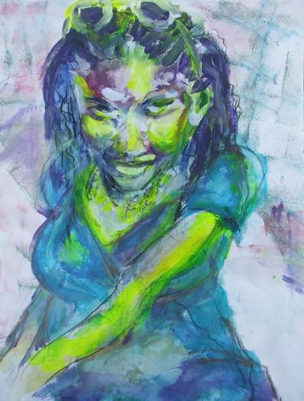 femme fatale, acryl on canavas, 45X37cm