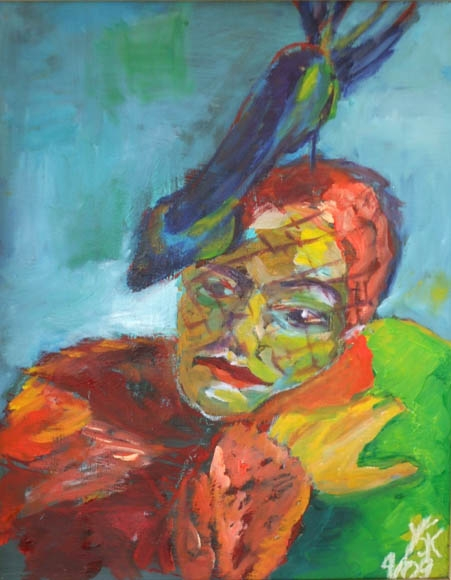 woman with shoe hat, oil on paper, 45X37cm