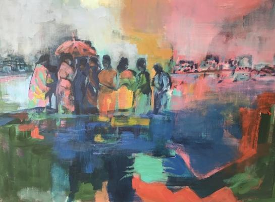 Women gathering at sundown, 60x80cm, acrylic on canvas