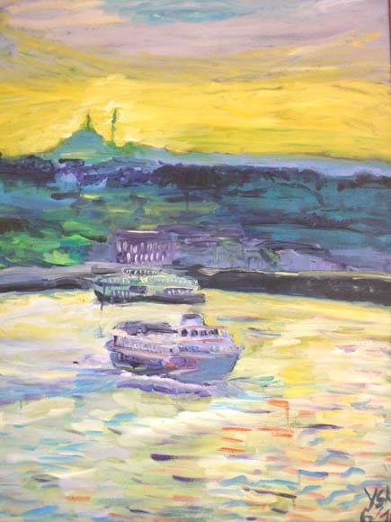 Bosporus boats, oil, 70X50cm
