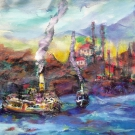 Sundown over Istanbul, acrylic on canvas, 40X40cm