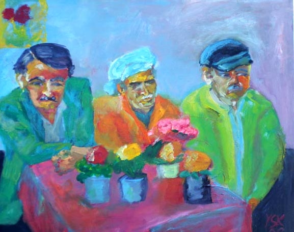 Meeting for Tea, oil on canvas, 80X100cm