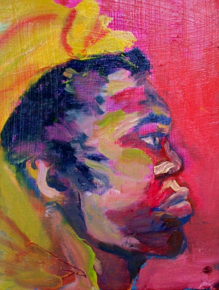 African profile, oil on wood, 40X30cm