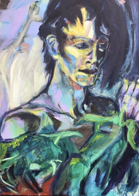 Bowie in drag, 70x50cm  SOLD!