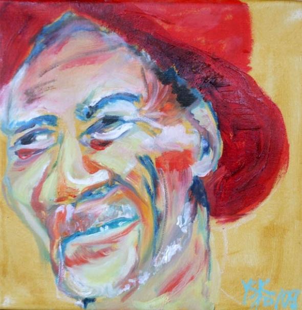 Texan smile, oil on canvas, 30X30cm
