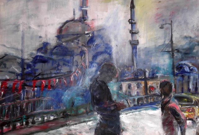 Meeting on the Bridge , oil on canvas, 50 x 70 cm