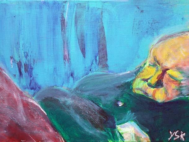 sleeping in the alley, acrylic, 40X60cm