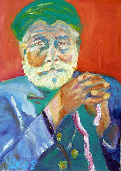 dear grandpa, oil on wood,50X35cm