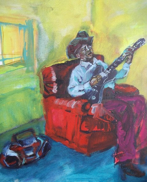 Guitar Man, acrylic on canvas, 60 x 70 cm- SOLD!