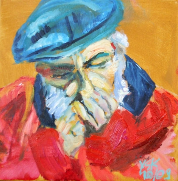 mouth harp player, oil on canvas, 30X30cm