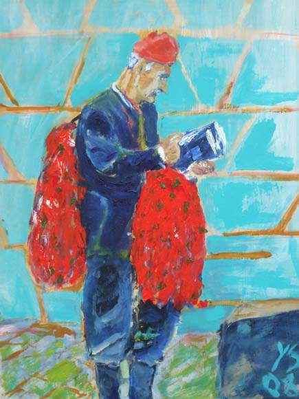 reading on the job, oil, 60X40cm