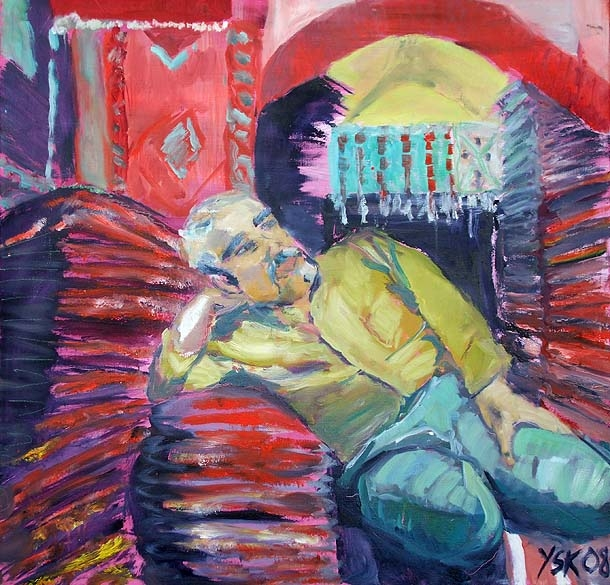 Resting on the Job, oil on canvas, 80 x 80 cm