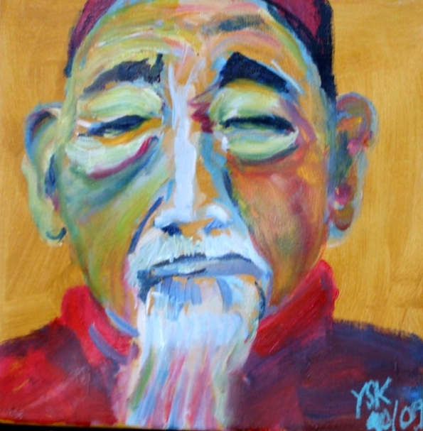 the asian monk, oil on canvas, 30X30cm