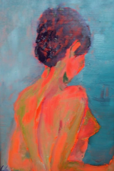 orange lady, mixed media, 60X40cm- SOLD!