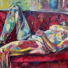 on the sofa, oil on canvas, 110X160cm- SOLD!