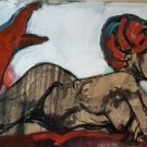 SOLD!red on nude, mixed media on paper, 54X73cm- SOLD!