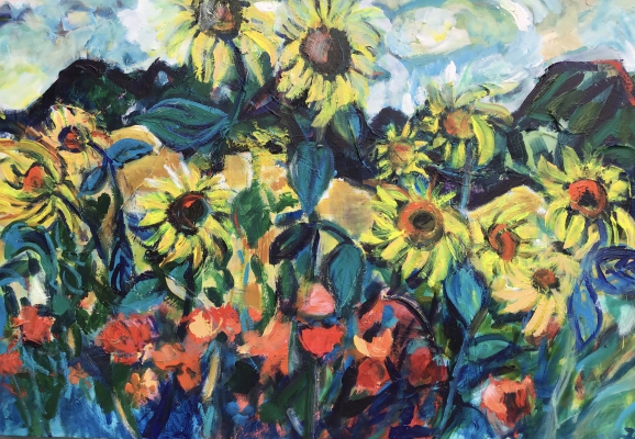 Sunflowers and poppies, 82x105cm