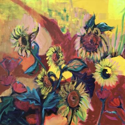 Sunflower at Dusk, 100x100cm