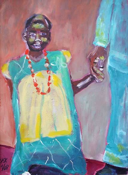 the little girl with red necklace, oil on paper- SOLD!