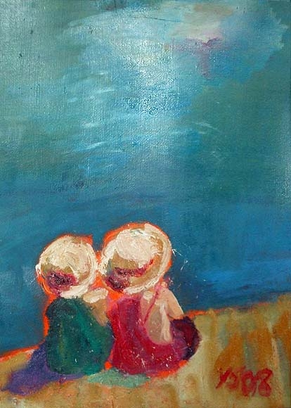 Summer hats, acrylic on canvas- SOLD!