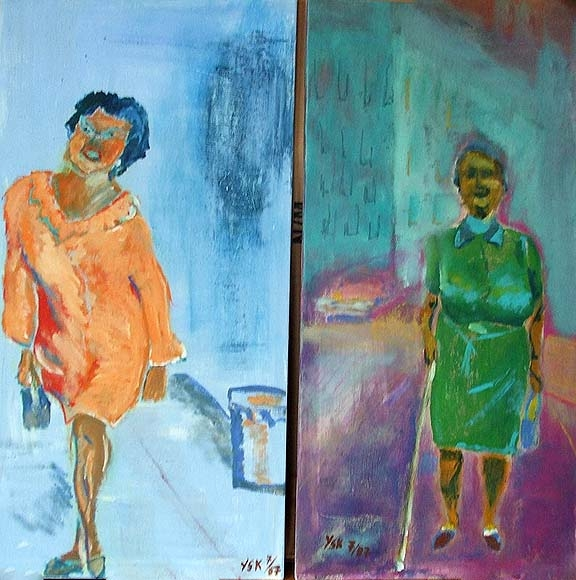 the two ladies, acrylic on canvas- SOLD