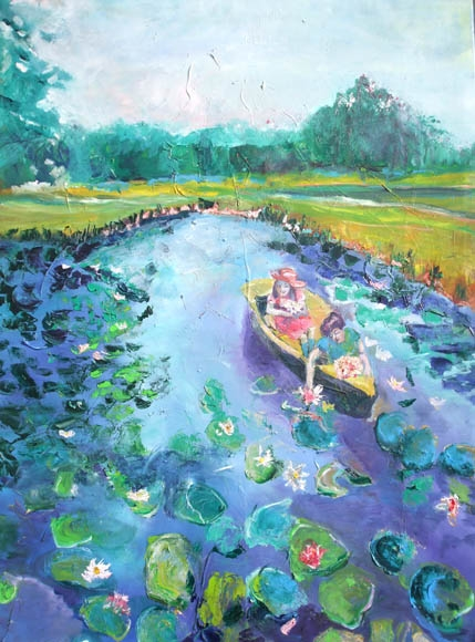 Collecting Lilies, oil on canvas,160 x 100 cm