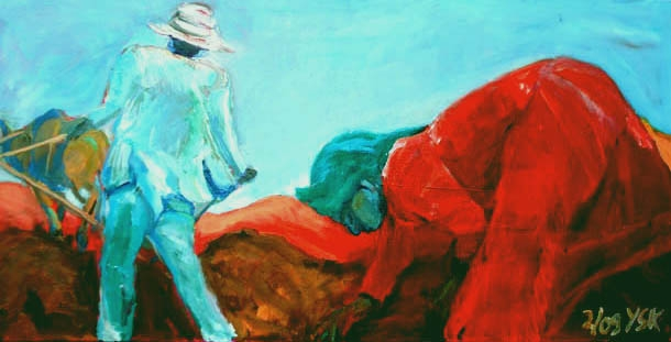 Together on the Job, oil on canvas - 40 x 100 cm- SOLD!