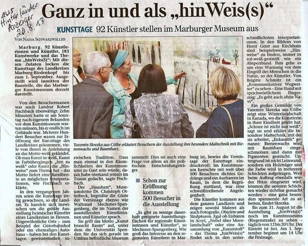 """»Ganz in und als """"hinWeis(s)""""« Hinterländer Anzeiger 2013"""