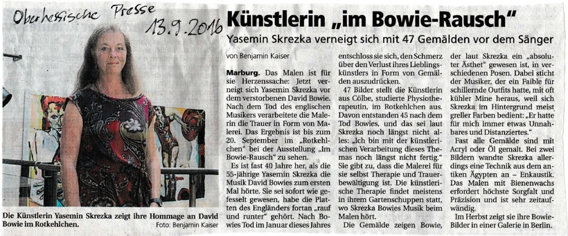 "»Künstlerin ""im Bowie Rausch""« OP 2016, September 13"