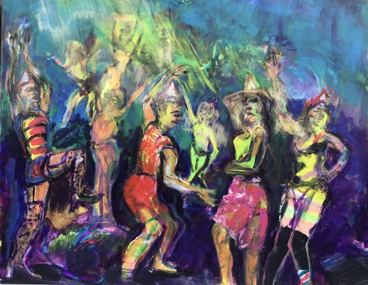 Party in Metamorfosi, acrylic on paper, 40x50cm