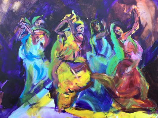 Bollywood dancers, 60x80cm, acrylic on canvas