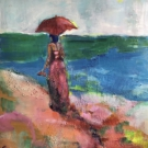 beach woman with red umbrella, 160X100cm