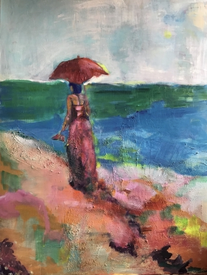 beach woman with red umbrella, 160X100cm