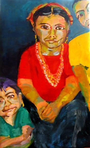 Guatemalen Family , oil on canvas - 100 x 60 cm