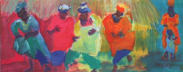 African Dancers, mixed media on canvas, 30 x 80 cm- SOLD!