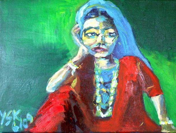 bored woman, acrylic on canvas, 30X40cm