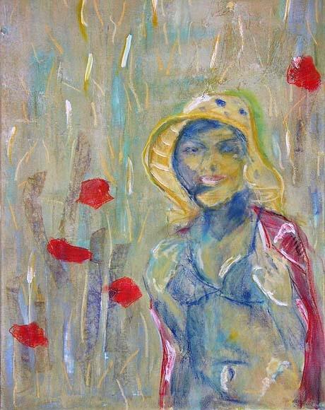 Girl in poppyfield, mixed media on canvas,60X40cm